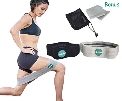 Exercise Resistance Booty Band Set for Men and Women | Glute Activation for Legs and Butt | Set of 2 Fabric Grippy Hip Bands and Bonus Latex Band | Recovery | High and Low Resistance | Mesh Carry Bag