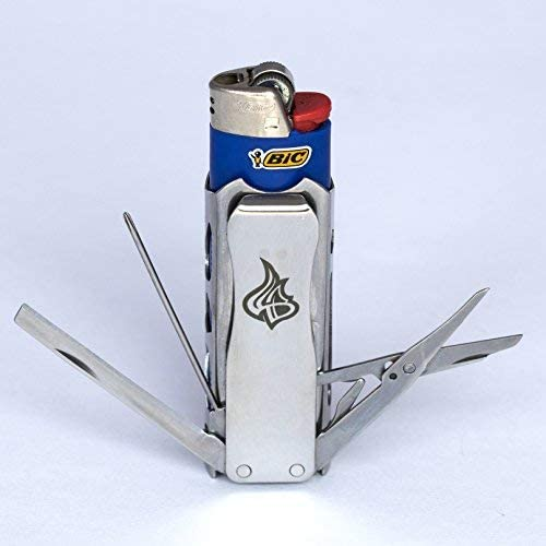 LighterBro Pro – Lighter Sleeve – Multi-tool – Stainless Steel – Silver