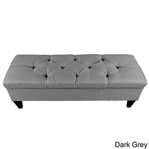 MJL Furniture Designs Brooke Collection Diamond Tufted Upholstered Long Bedroom Storage Bench, HJM100 Series, Dark Gray Upholstered Bed Series