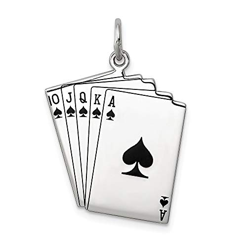 925 Sterling Silver Playing Cards Pendant Charm Necklace Gambling Man Fine Jewelry Gift For Dad Mens For Him
