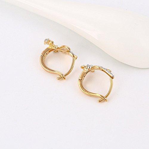 XUPING Women Gold Plated Bling White Rhinestone Ear Stud Hoop Earrings Good Wish Earrings Christmas Gifts CkvTsj9