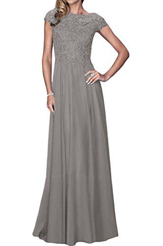 Lang Aermel amp;Spitze Partykleid Kurz Silber Ivydressing Abendkleid Chiffon A Linie Damen Promkleid Exquisite tZWwqT8