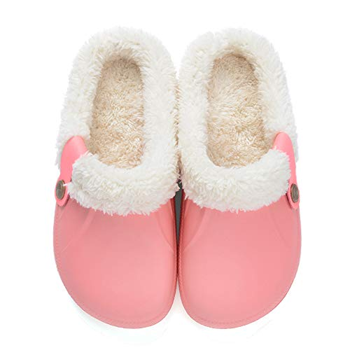 Clogs Shoes Fur Lined Slippers Winter Breathable Indoor Outdoor Walking Warm Non-Slip House Shoes for Men Women Pink 39-40
