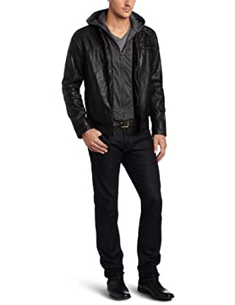 Kenneth Cole Men's Faux Leather Moto With Hoodie, Black, X-Large