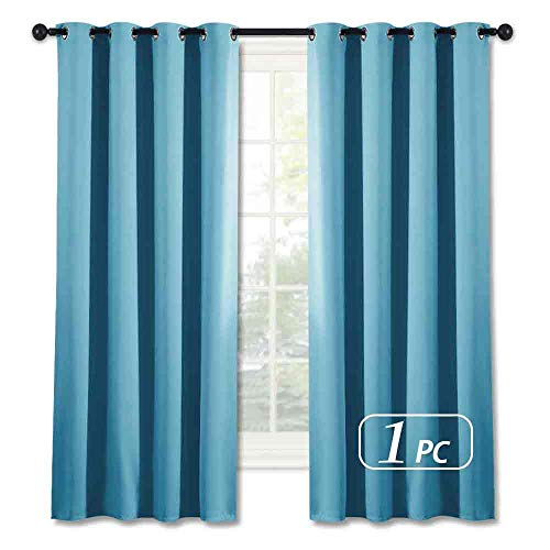 NICETOWN Blackout Shades for Bedroom Windows - (Teal Blue Color) Thermal Insulated Window Treatment Curtain Drape, Room Darkening Modern Drapery for Boy's Room, 52x63 inches,One Panel