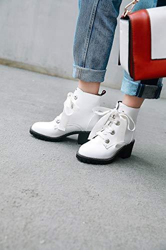 du faire shopping lacets rondes à sauvages chaussures taille la faire en Boots pour antidérapantes fête carré de blanc à ou femmes cuir à Adong Martin l'usure pour talon moyenne résistant SY7Bqxg