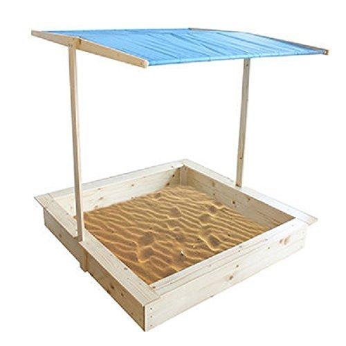 Homewear Outdoor Play Yard Area Wood Sand Box with Overhead Adjustable Canopy Height