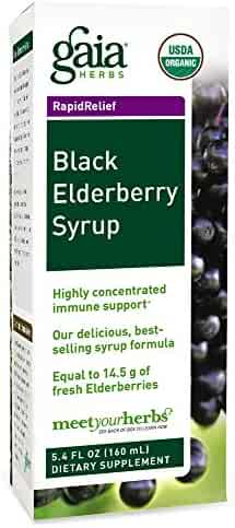 Gaia Herbs Black Elderberry Syrup, 5.4 Ounce - Daily Immune Support with Antioxidants, Organic Sambucus Elderberry Supplement