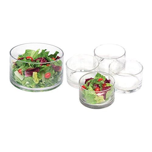 Artland Simplicity Glass Cylinder Salad Serving Bowl 5 Piece Set, Service for 4 (Artland Simplicity Glass)