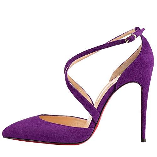 OCHENTA Mujer de La bomba del talon de encaje del terciopelo de la zapatos casuales elegantes Morado