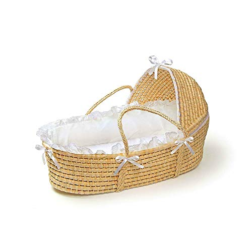 Baby Moses Basket with Canopy Bed Newborn Sleep Hood Foam Mattress Pad Fitted Sheet Machine Washable Safe and Comfy Adjustable Canopy Sturdy Woven Basket & eBook by BADAshop
