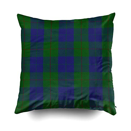 EMMTEEY Home Decor Throw Pillowcase for Sofa Cushion Cover, Halloween Scottish Clan Barclay Hunting Tartan Decorative Square Accent Zippered and Double Sided Printing Pillow Case Covers -