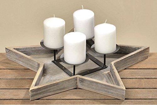 Adventskranz Stern Holzstern für vier Kerzen Kerzentablett Kerzenhalter Ständer