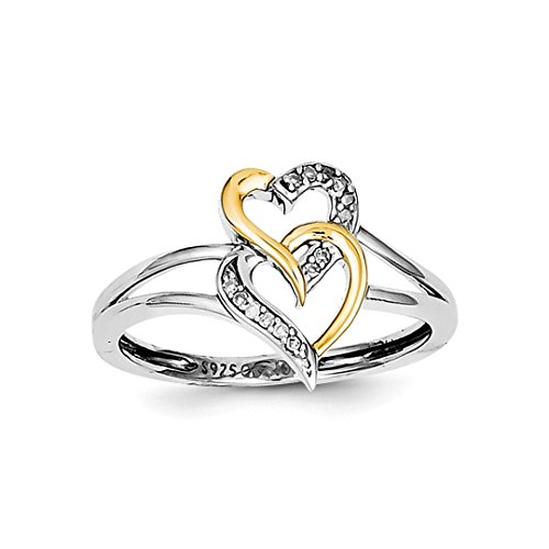 ICE CARATS 925 Sterling Silver 14kt Two Tone Yellow Gold Diamond Double Hearts Band Ring Size 6.00 S/love Fine Jewelry Ideal Gifts For Women Gift Set From Heart 14kt 2 Tone Diamond Ring