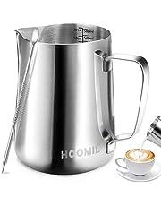 HOOMIL Mjölkskummare kanna 350 ml/600 ml/900 ml (12 oz/20 oz/32 uns) rostfritt stål mjölk kanna kopp barista mjölkkanna och latte dekorativ konst penna för att göra kaffe cappuccino skummning mjölk kaffemaskin