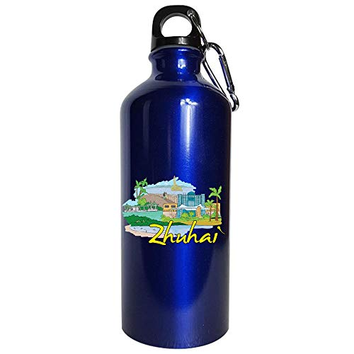 (Zhuhai China - Beautiful Places Around The World - Water Bottle Metallic Blue)