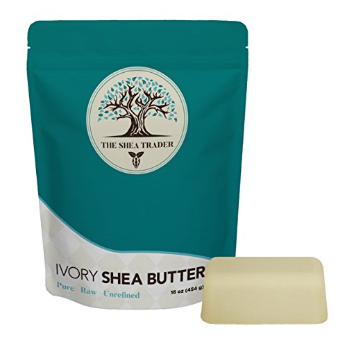 Unrefined Raw Ivory Shea Butter - Pure from Ghana, Africa - Ultimate Moisturizer for Dry Skin, Eczema, Natural Stretch Mark Cream, Leave in Conditioner - Use on Hair, Face, Body - Shea Trader (Best Homemade Leave In Conditioner)