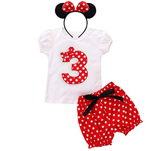 Minnie Mouse Birthday Third Outfits Kid Girl Short Sleeve Top Shorts Bottoms Ear Hair Band Fancy Dress up Costume Christmas Holiday ()