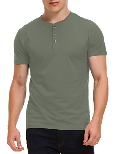 Boisouey Men's Casual Slim Fit Short Sleeve Henley T-Shirts Cotton Shirts ArmyGreen S by Boisouey