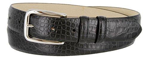 Armana Genuine Italian Calfskin Leather Dress Belt for Women(Alligator Black, 38)