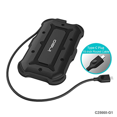 USB3.1 Type C to SATA III Rugged Hard Drive Enclosure - ElecGear 2.5 inch USB C Portable External IPX6 Waterproof, IP6X Dust-proof Shock-resistant Military Drop Tested HDD SSD Caddy Adapter Case