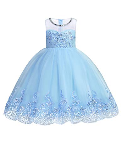 JOYMOM Princess Dress, Kids Scoop Neck Handmade 3D Flower Embroidery Back Tie Knee Length Tulle and Mesh Curved Hem Empire Waist Pageant Birthday Party Dresses for Teens Sky Blue 140 (7-8T)