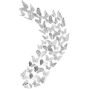 Creatiee 48Pcs Butterfly Decorations, 3D Wall Decals|Metallic Art Sticker, DIY/Handmade/ Removable/Pressure Resistance Paper Murals Gift for Home Kids/Girls Bedroom Nursey Party Décor (Silver Style)
