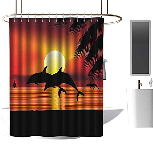 coolteey Shower Curtains Gold and White Whale,Two Dolphins in The Ocean at Sunset with Palm Tree Leaves Romantic Waterscape View,Orange Black,W72 x L84,Shower Curtain for - Two White Gold Dolphins