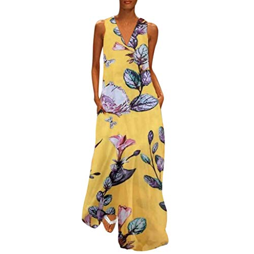 Women's Vintage  Bohemian Floral Sleeveless V-Neck Dress Feather Print Maxi Long Dress (Day T-shirt Yellow Patricks)