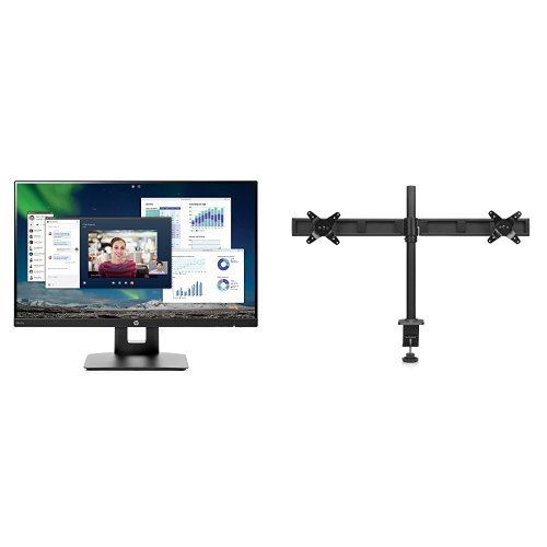 HP 23.8-inch FHD IPS Monitor with Tilt/Height Adjustment and Built-in Speakers with HP Pavilion Dual Monitor (Hewlett Packard Stand)