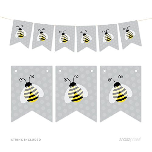 9' Honey (Andaz Press Hanging Pennant Party Banner with String, Honey Bee Bumblebee, 9-Feet, 1-Set, Decor Paper Decorations, Includes String)