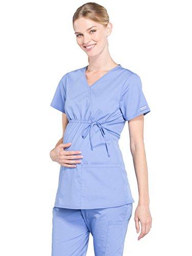 Cherokee WW Professionals WW685 Maternity Mock Wrap Top Ciel Blue M