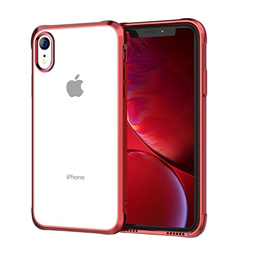 - Soke iPhone XR Case 2018, Ultra Thin Slim Fit Cover Case [Unique Loudspeaker Holes][Drop Protection] with Clear Soft TPU Back and Electroplated Frame for iPhone XR 6.1 Inch (2018 Released), Red