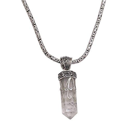 "NOVICA Clear Quartz .925 Sterling Silver Pendant Necklace, 18.5"""