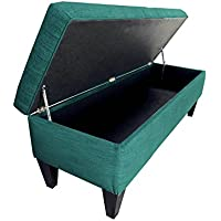 MJL Furniture Designs Brooke Collection Diamond Tufted Upholstered Long Bedroom Storage Bench, Lucky Series, Turquoise