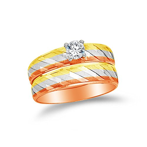 Size - 5 - 14k Rose Two Toned Gold Highest Quality CZ Cubic Zirconia Round Bridal Engagement and Wedding Two Ring Set (1/4ct. Center Stone) ()