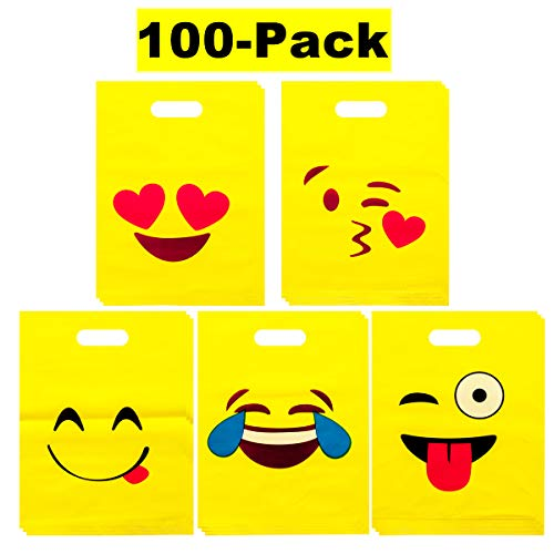 - LOUHUA Pack of 100 Emoji Party Favor Gift Candy Bags Bulk for Boys Girls Kids Party Supplies Favors (20 pcs per style)