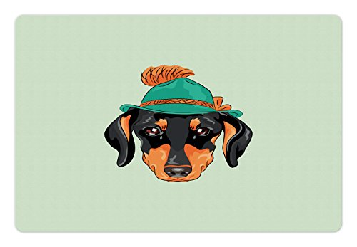 (Ambesonne Dachshund Pet Mat for Food and Water, Hipster Pure Breed Dog Silhouette in a Green Tyrolean Hat Cute Dachshund Puppy, Rectangle Non-Slip Rubber Mat for Dogs and Cats, Multicolor)