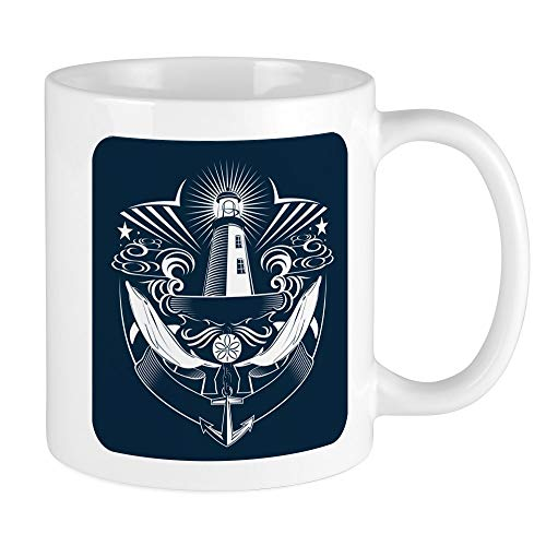 Mug (Coffee Drink Cup) Lighthouse Crest Anchor Dolphins