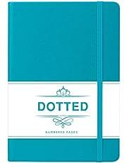 Bullet Journal Puntos - Libreta de Puntos, Diario Punteado con 124 Páginas Numeradas, Cuero Sintético Liso Verde, 13x21.5cm