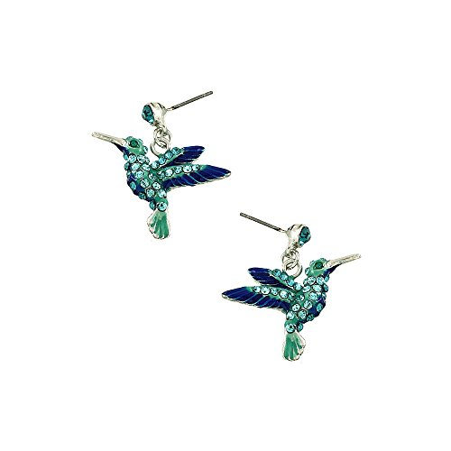 Liavy's Hummingbird Fashionable Earrings - Enamel - Dangle Post - Sparkling Crystal - Unique Gift and Souvenir