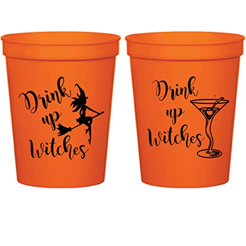 Halloween Orange Plastic Stadium Cups - Drink Up Witches Martini (10 cups) -