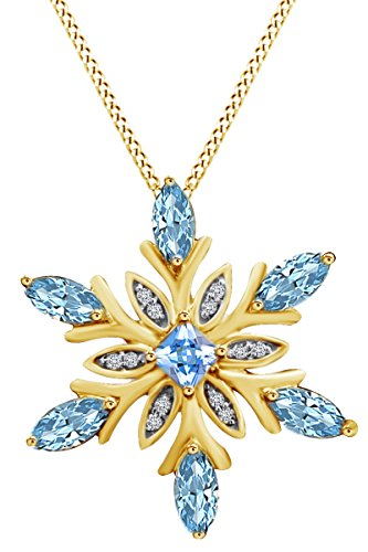 AFFY Snowflake Pendant Necklace in 14k Yellow Gold Over Sterling Silver Simulated Blue Topaz & White Cubic Zirconia (1.23 cttw) ()