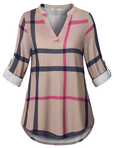 Long Sleeve Plaid Coat - Bebonnie Long Sleeve Tunics for Women, Ladies Wear with Leggings Plaid 2XL Shirt Lightweight Travel Clothes Office Modesty Panel Minimalist Clothing Multicolor Beige L