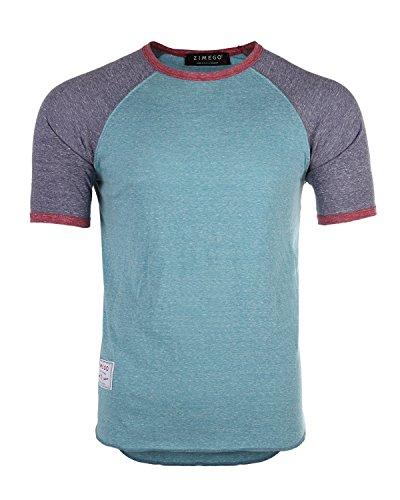 - ZIMEGO Men's Short Sleeve Classic Retro Lightweight Raglan Ringer T-Shirts