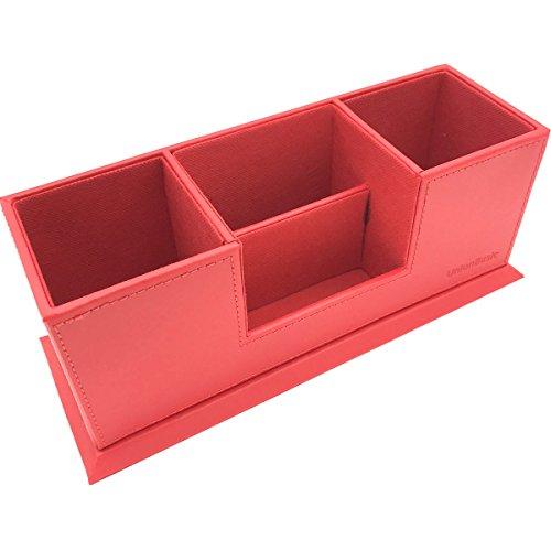 UnionBasic PU Leather 4 Compartment Desk Organizer Card/Pen/Pencil/Mobile Phone Office Supplies Holder Collection Desktop Organizer (Red)