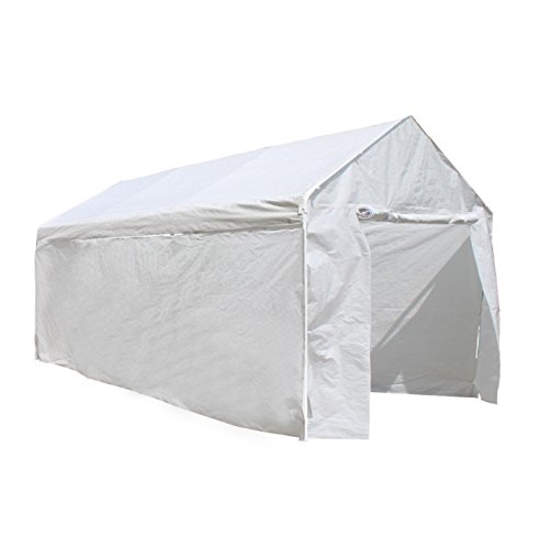 ALEKO CP1020NS 10 X 20 Heavy Duty Steel Frame Carport Kit, Party Tent with Polyethylene Removable Walls in White by ALEKO
