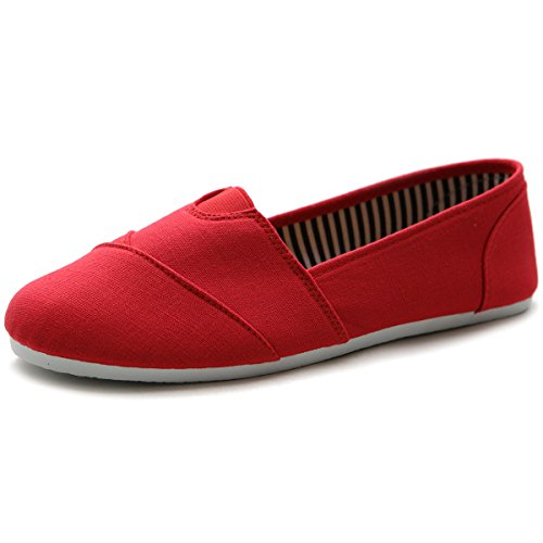 (Ollio Women's Shoes Slip on Sneakers Canvas Flats ML031(8 B(M) US, Red))