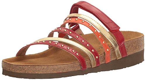Naot Footwear Women's Prescott, Poppy Leather/Gold Leather/Orange Leather, 36 EU/5-5.5 M US