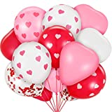 35 Pieces Valentine Balloons Heart Balloons Latex and Confetti Balloons for Valentines Day Wedding Birthday, 12 Inch